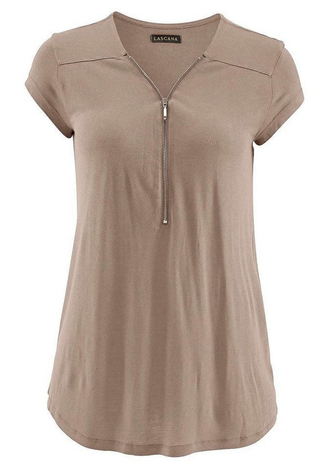 LASCANA Strandshirt mit Zipper-Detail in taupe