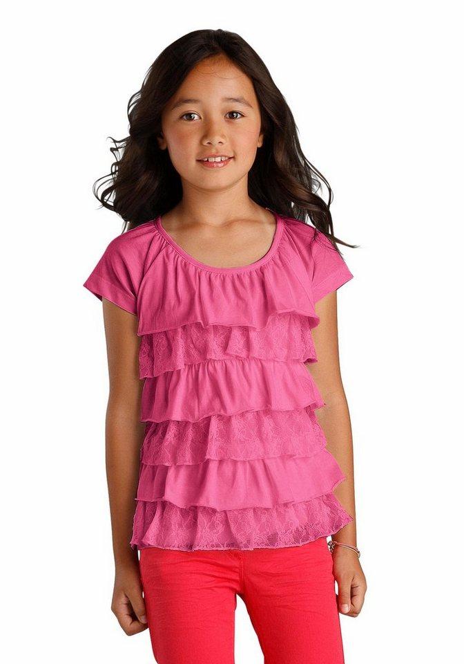 Arizona T-Shirt mit Volants, für Mädchen in Pink