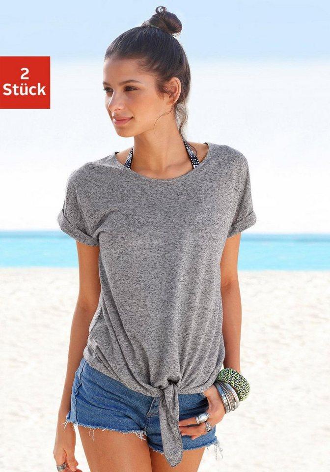 Beachtime T-Shirts mit Leinen, am Saum zum knoten (2 Stück) in mint + anthrazit