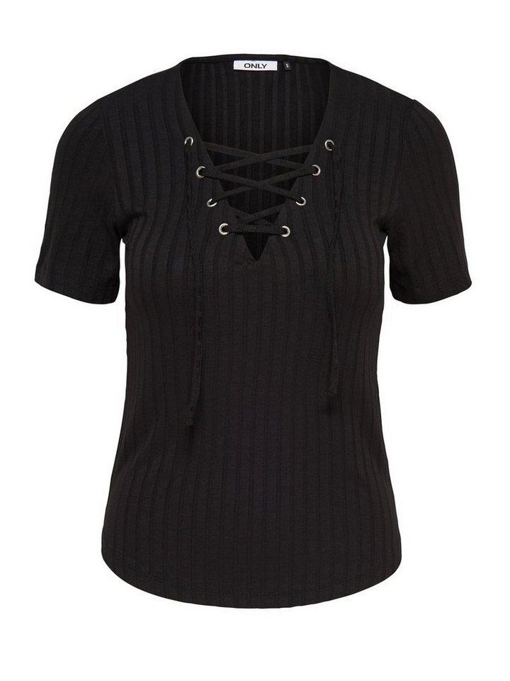 Only Schnür- Bluse mit 2/4 Ärmeln in Black