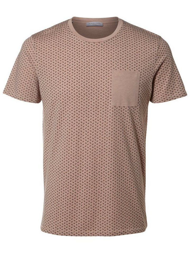 Selected Baumwoll- T-Shirt in Fawn