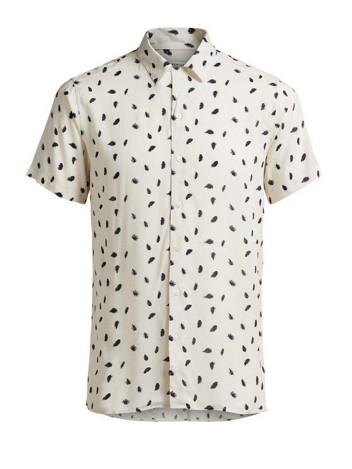 Jack & Jones Blätter-Print Kurzarmhemd in Egret