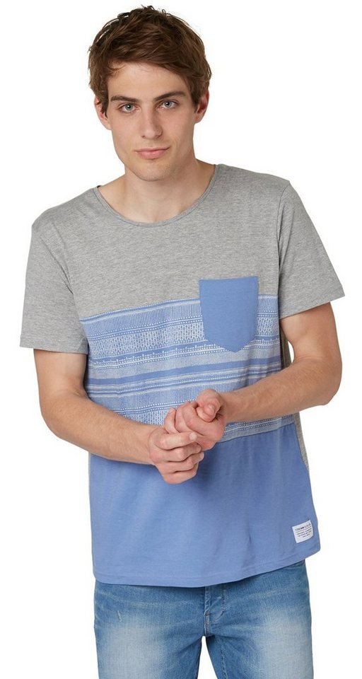TOM TAILOR DENIM T-Shirt »lässiges Stoffmix-Shirt« in colony fog blue