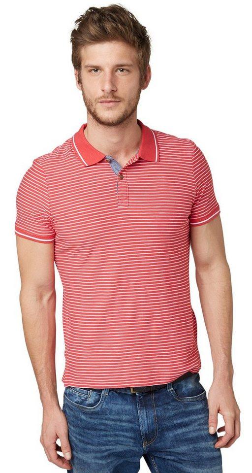 TOM TAILOR Poloshirt »gestreiftes Polo-Shirt« in sun bleached red