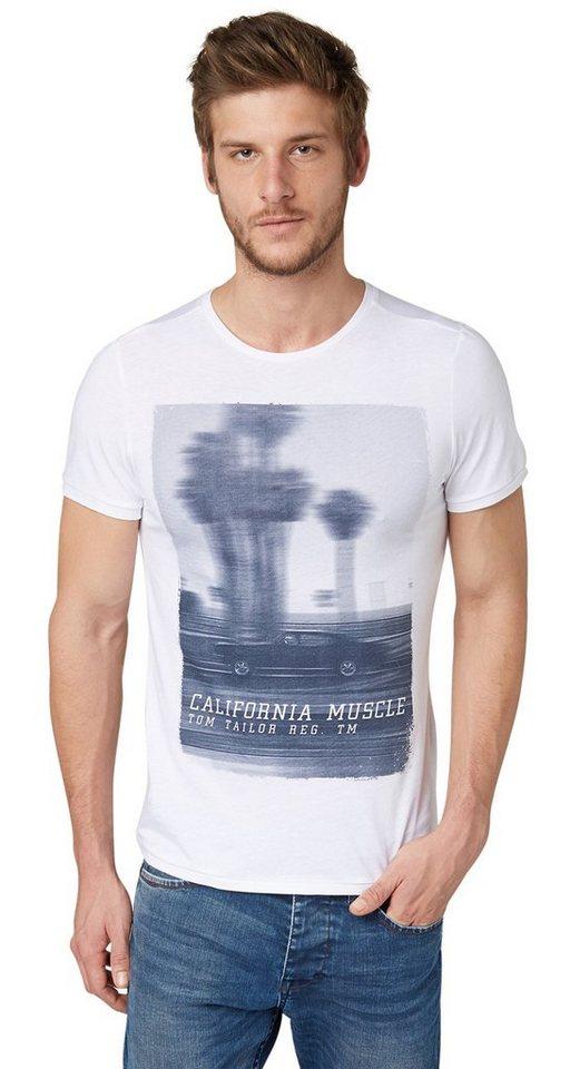 TOM TAILOR T-Shirt »T-Shirt mit Foto-Print« in White 01