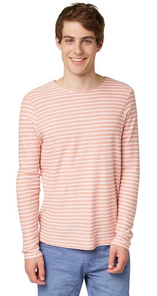 TOM TAILOR DENIM Pullover »striped longsleeve sweater« in dusty salmon red