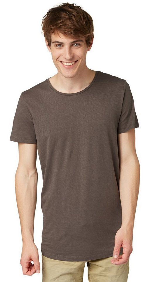 TOM TAILOR DENIM T-Shirt »loose slub long tee« in pavement grey