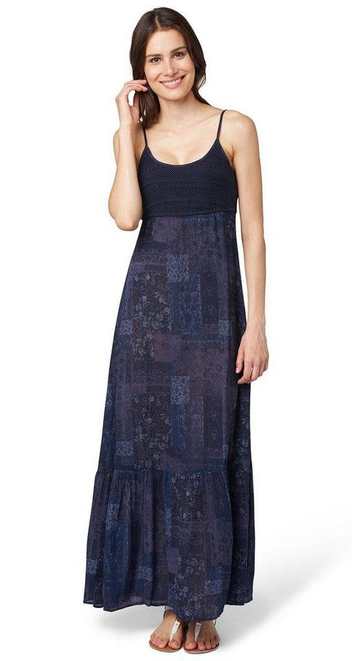 TOM TAILOR Kleid »Maxi-Kleid mit Häkelspitzen-Detail« in real navy blue