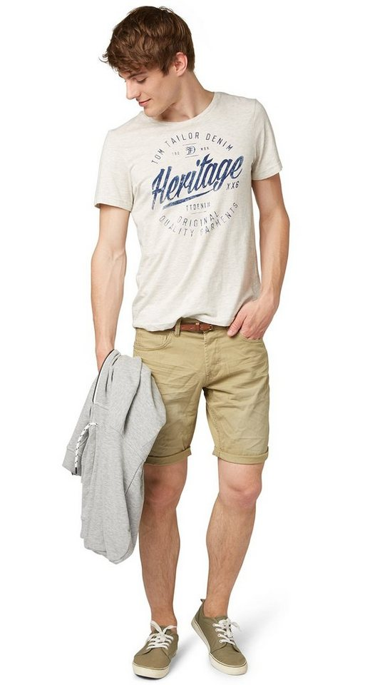 TOM TAILOR DENIM Shorts »Used-Bermuda mit Crinkels« in twill beige