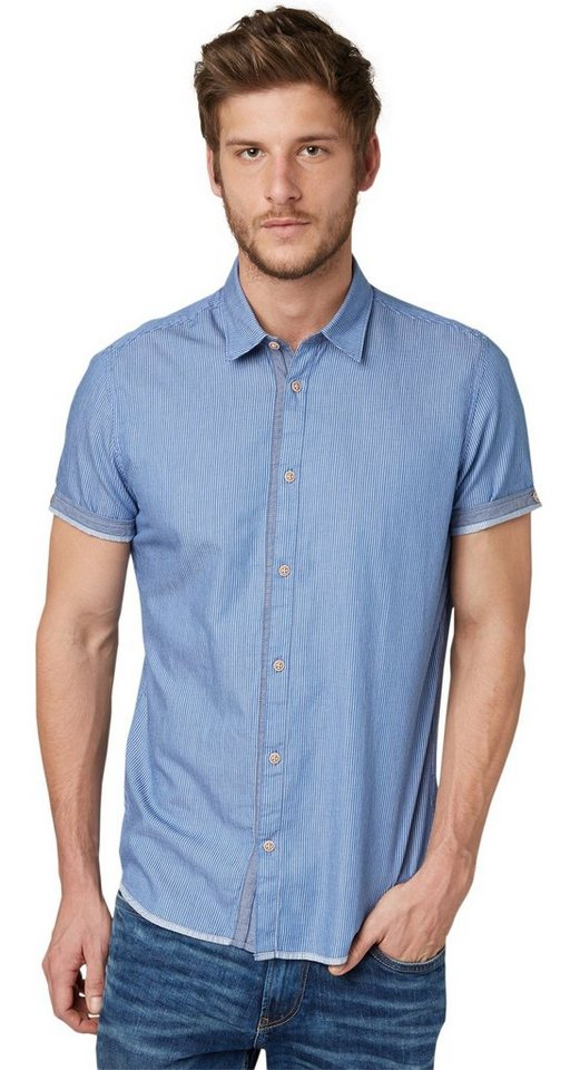 TOM TAILOR Hemd »Floyd summer twill stripeshir« in regular blue
