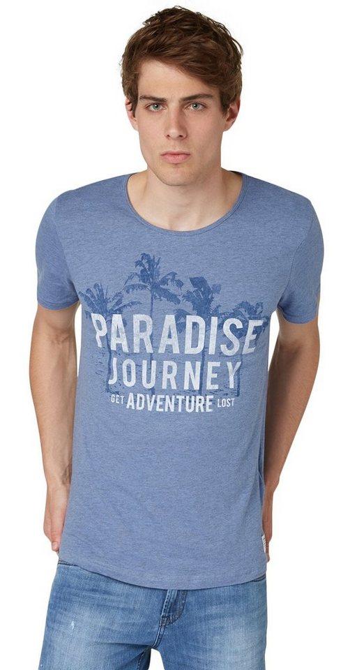 TOM TAILOR DENIM T-Shirt »slub tee w.paradise print« in colony fog blue
