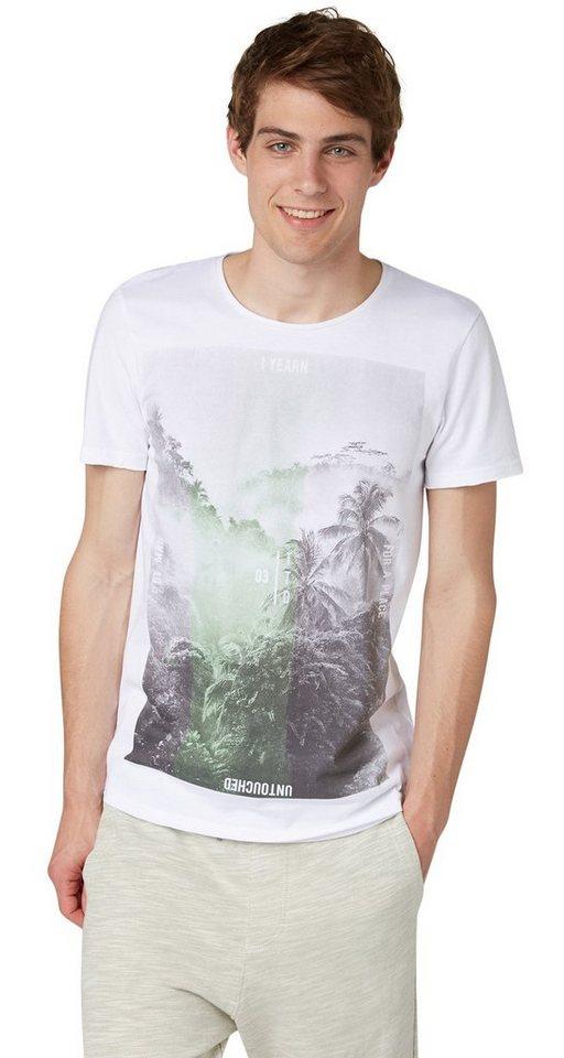 TOM TAILOR DENIM T-Shirt »Print-Shirt aus Bio-Baumwolle« in white