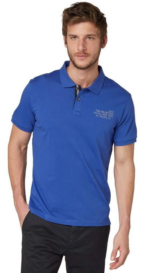TOM TAILOR Poloshirt »Polo-Shirt mit Print« in deep ultramarine blu