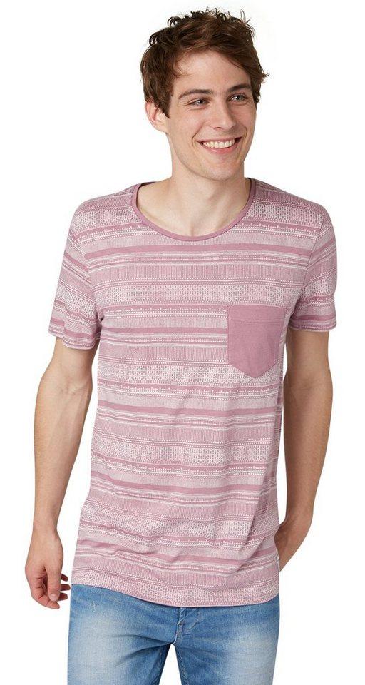 TOM TAILOR DENIM T-Shirt »T-Shirt mit Ikat-Print« in dusty orchid mauve
