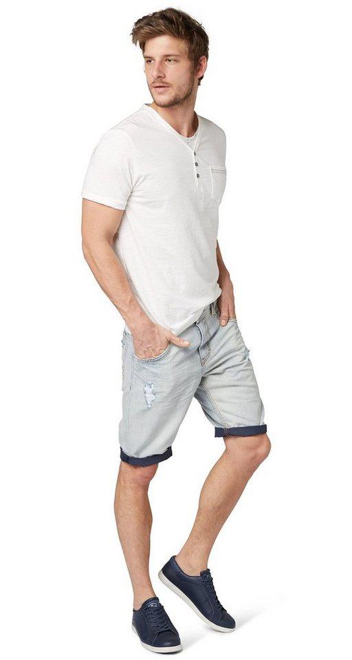 TOM TAILOR Shorts »Jeans-Bermuda mit Destroys« in mid stone wash denim