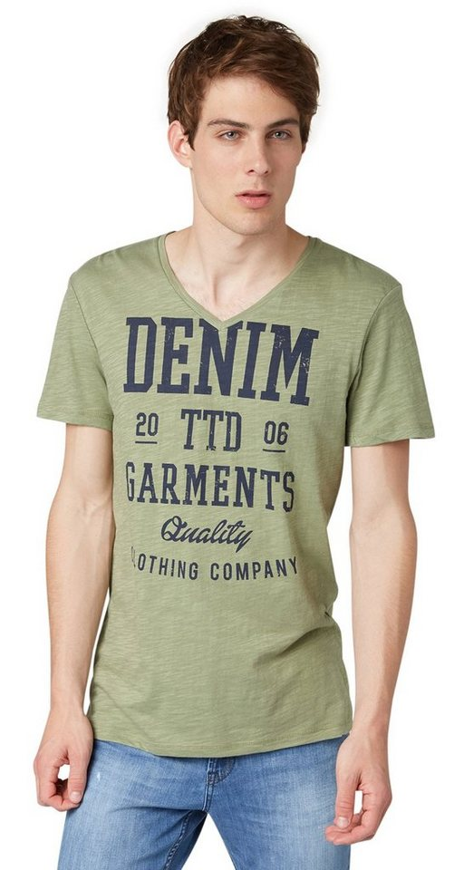 TOM TAILOR DENIM T-Shirt »slub ttd garments print tee« in greyish green