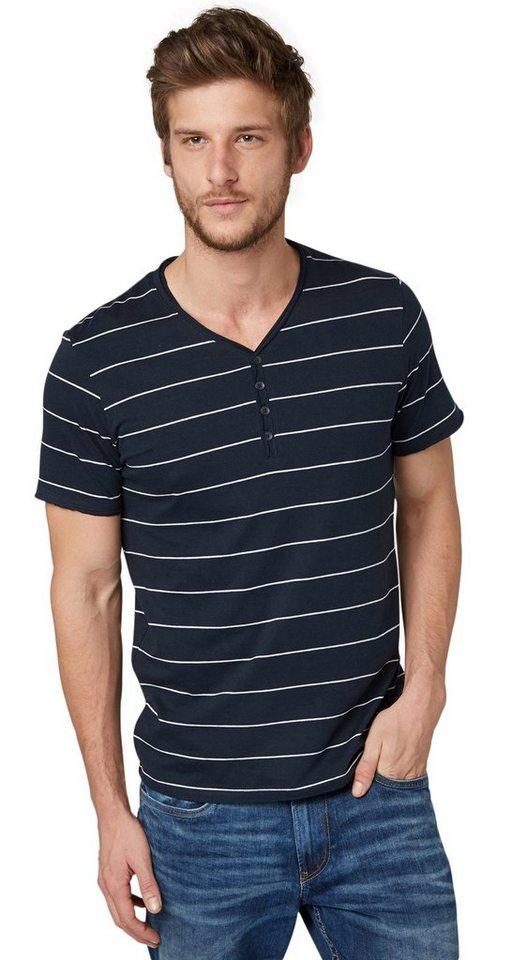 TOM TAILOR T-Shirt »striped serafino« in dark blue