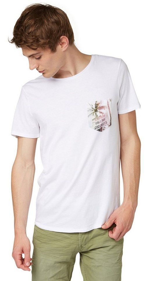 TOM TAILOR DENIM T-Shirt »tee with photoprint pocket« in white