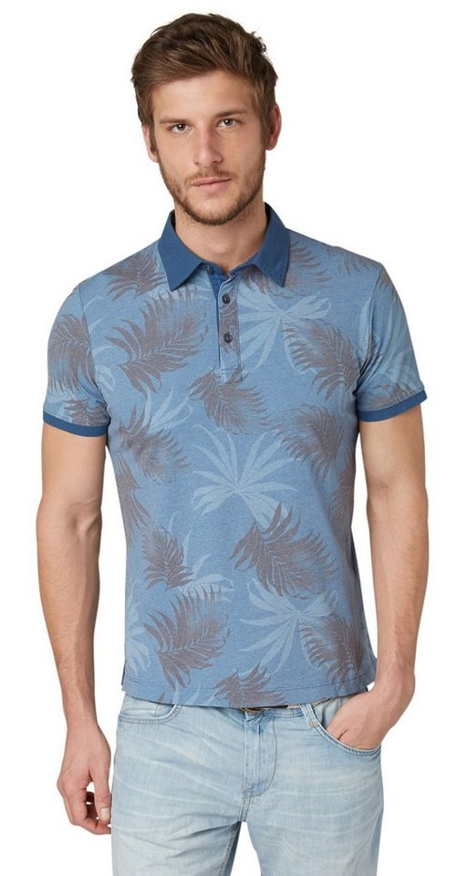 TOM TAILOR Poloshirt »Polo-Shirt mit Palmen-Print« in ensign blue