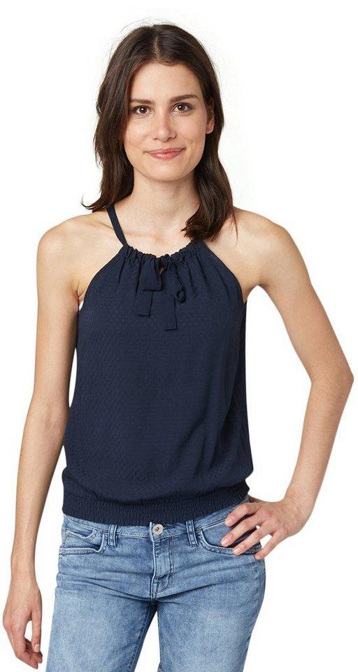 TOM TAILOR Bluse »feminines Struktur-Top mit Schleife« in real navy blue
