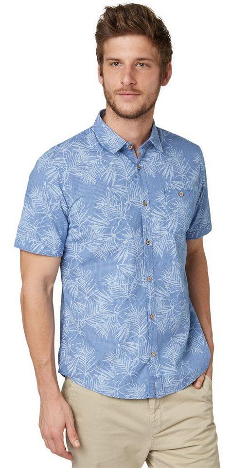 TOM TAILOR Hemd »Karo-Hemd mit tonigem Palmen-Print« in regular blue