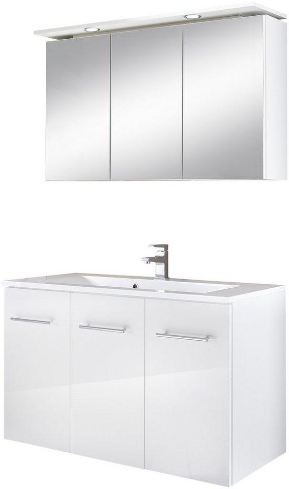 Badmöbel-Set »Lugo«, Breite 100 cm, 2-tlg. in weiß
