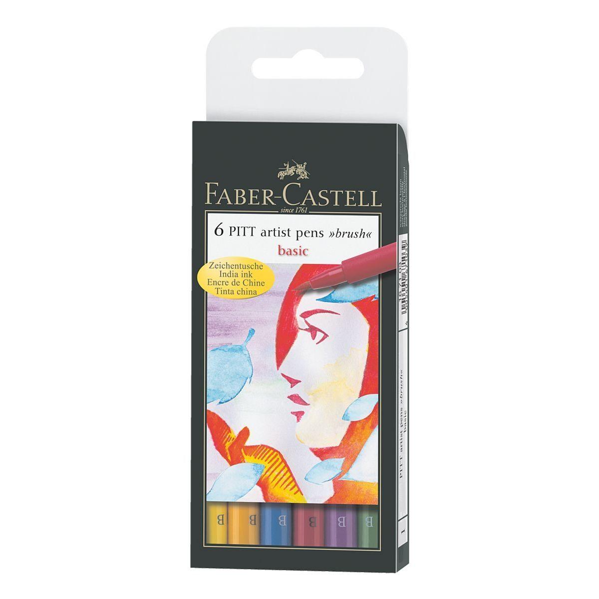 Faber-Castell 6er-Pack Tuschemarker »PITT artist pen B basic«