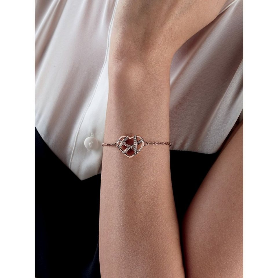 Guess Armband Wrap Me Up mit Strass in Rose Goldenfarbe