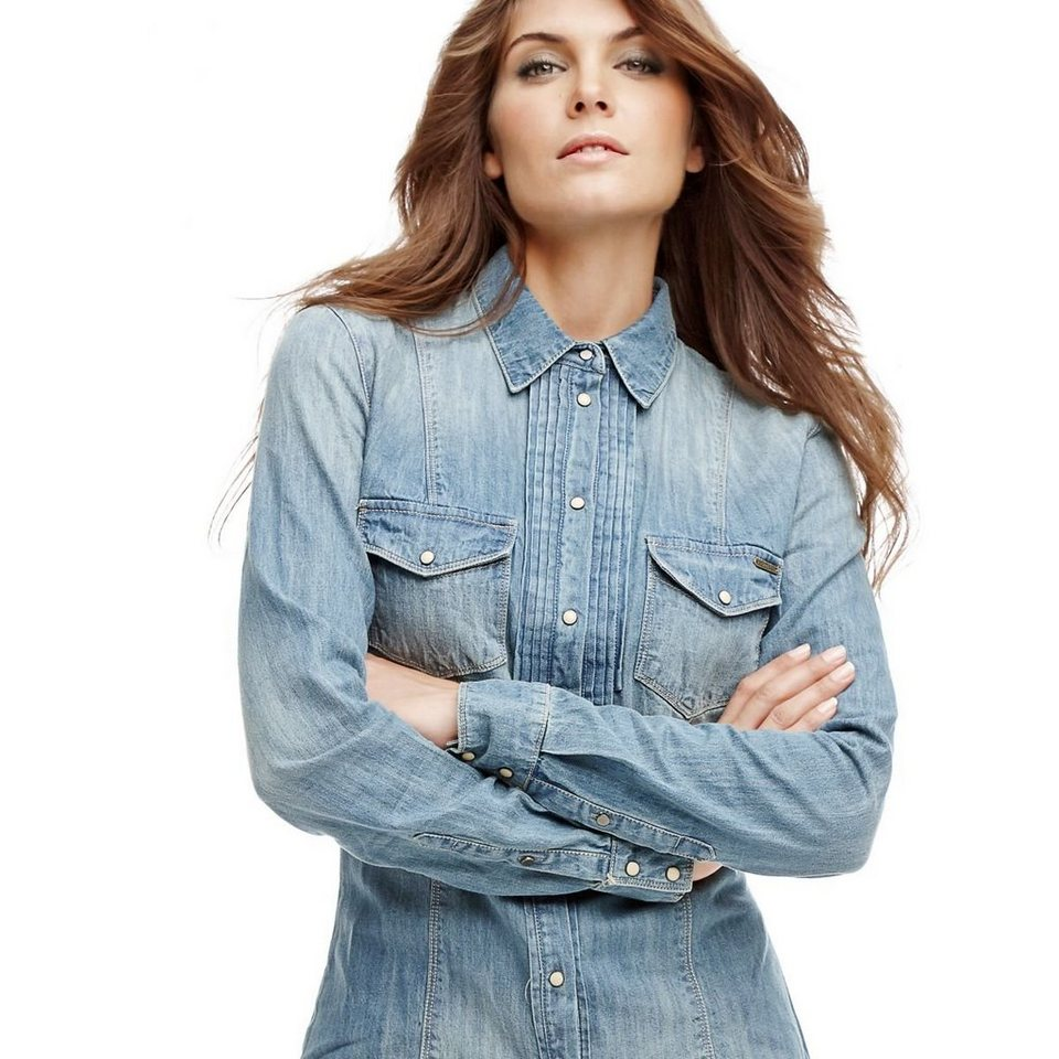 Guess PLISSIERTES JEANSHEMD in Blau