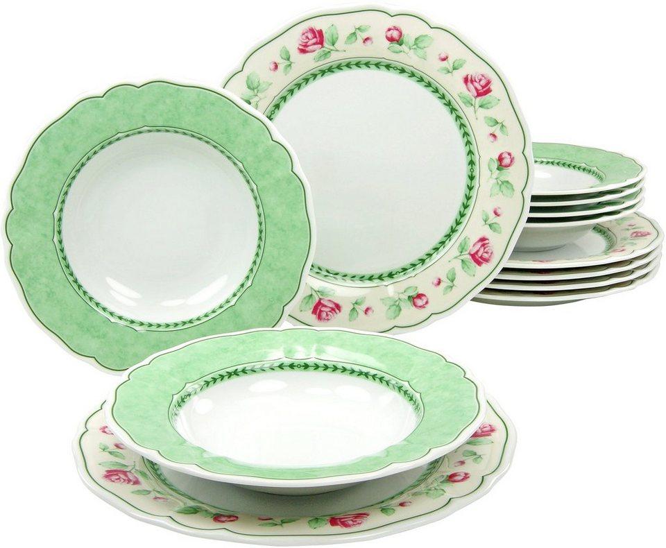 CreaTable Tafelservice Porzellan, 12 Teile, »FLORA JUST ROSES« in grün/weiß/rot