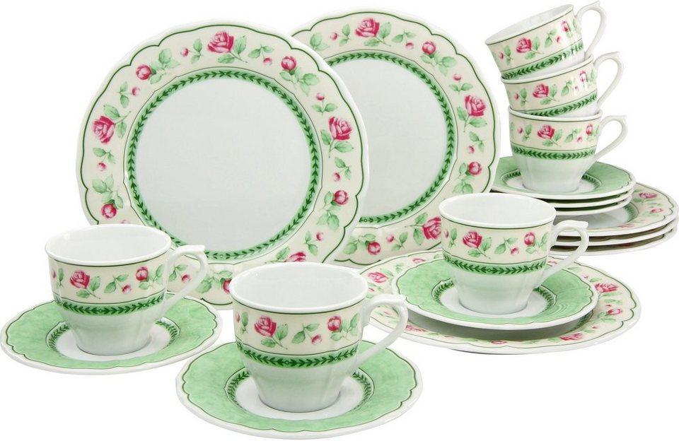 CreaTable Kaffeeservice Porzellan, 18 Teile, »FLORA JUST ROSES« in grün/weiß/rot