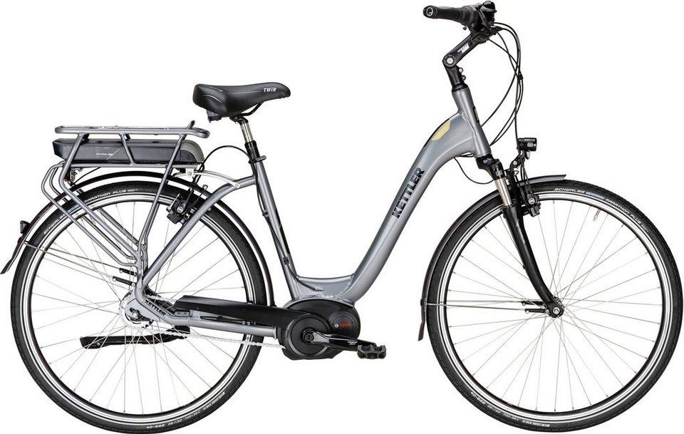 Kettler E-Bike, Mittelmotor 36V/250W, 28 Zoll, 8 Gg-Shimano Nexus Nabensch., »Traveller E Gold FL« in silberfarben