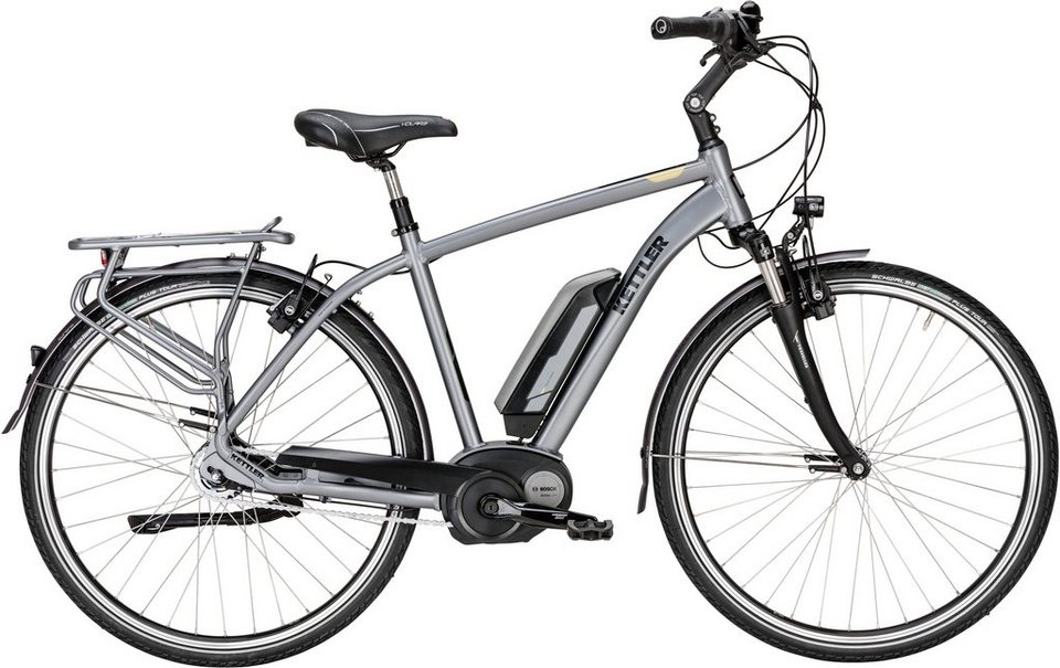Kettler E-Bike, Mittelmotor 36V/250W, 28 Zoll, 8 Gg.-Nabenschalt., Rücktritt, »Traveller E Gold RT« in silberfarben