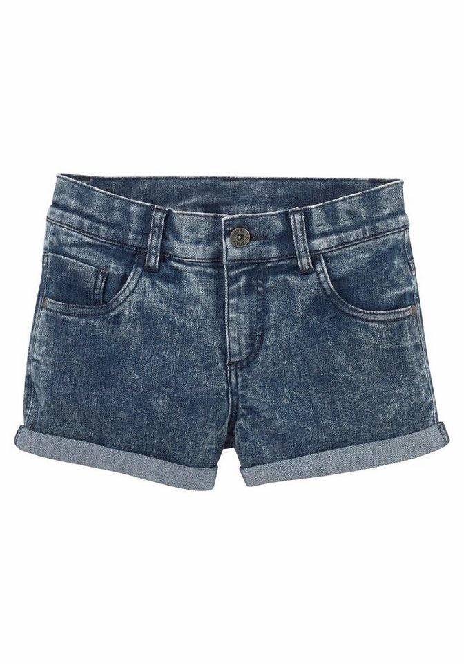 Arizona Jeansshorts mit Moonwashed-Waschung in dark-blue