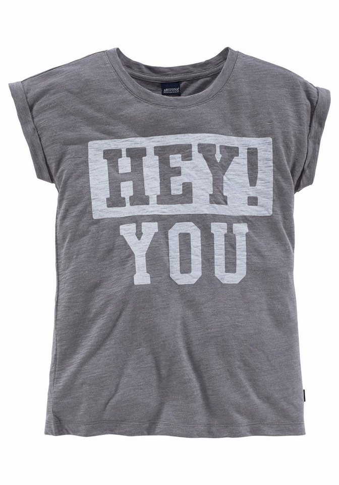 Arizona Oversize Shirt mit Frontdruck, für Mädchen in grau-meliert
