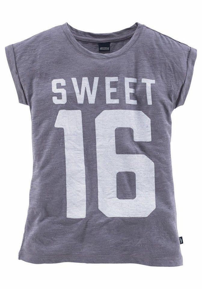 Arizona Oversize Shirt mit Frontdruck, für Mädchen in lila-meliert