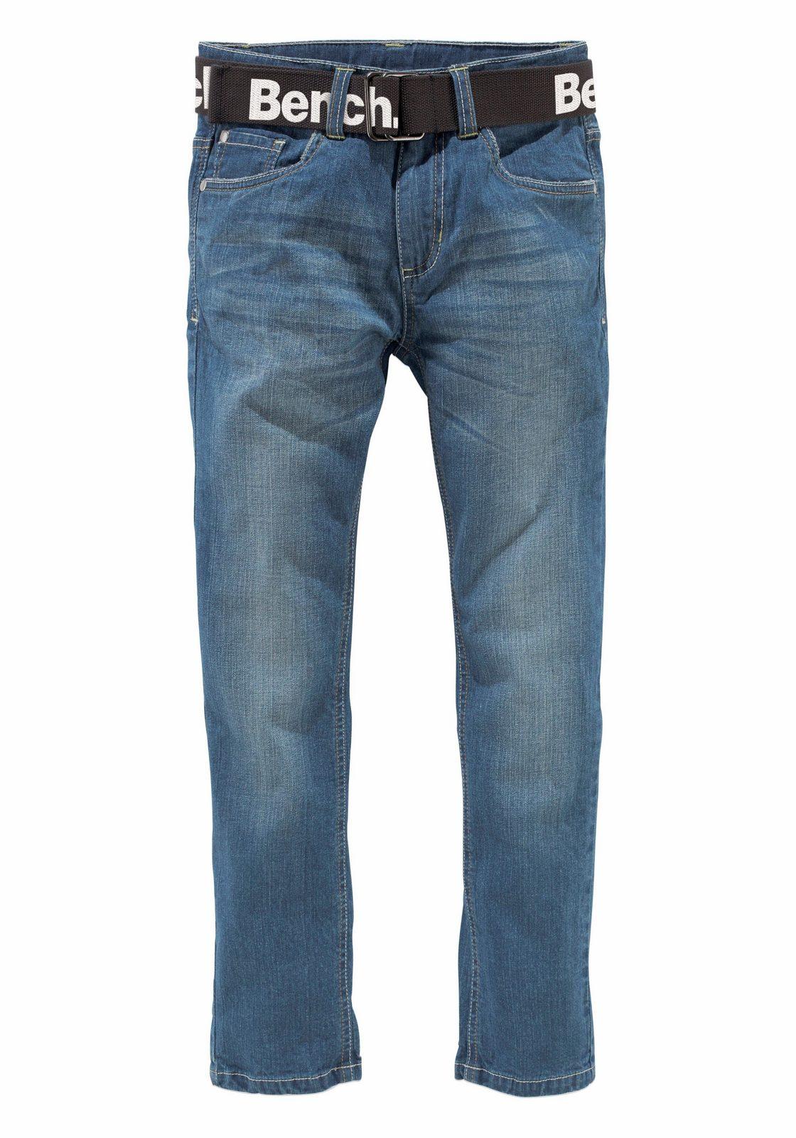 Bench. Stretch-Jeans (Set, mit Gürtel), in SLIM-Passform für schlanke Jungen, Textilgürtel großem Logodruck
