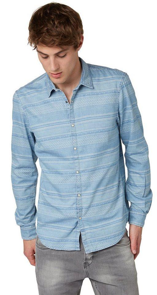TOM TAILOR DENIM Hemd »denim shirt w. ikat print« in ice wash denim