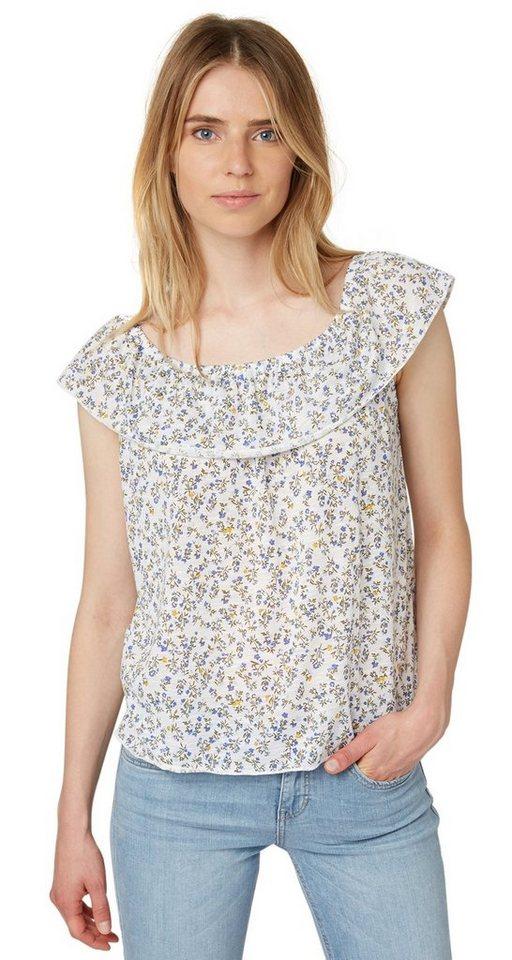 TOM TAILOR DENIM T-Shirt »off shoulder bardot top« in off white