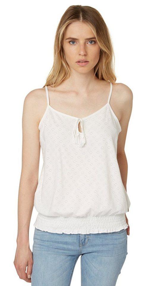 TOM TAILOR DENIM T-Shirt »Top mit Quasten-Detail« in off white