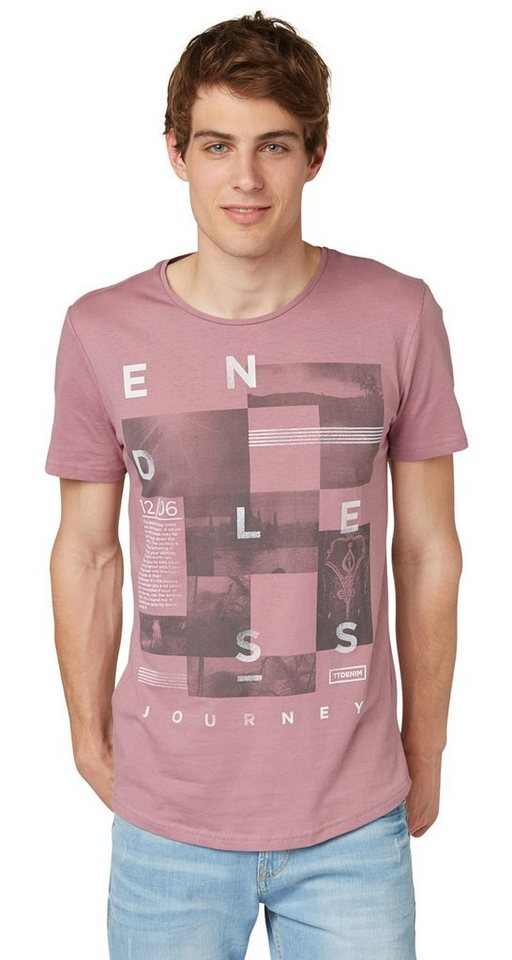TOM TAILOR DENIM T-Shirt »printed endless crewneck tee« in dusty orchid mauve