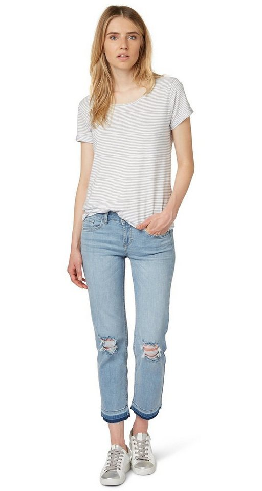 TOM TAILOR DENIM Jeans »Stella Cropped Ripped Knees« in mid stone wash denim