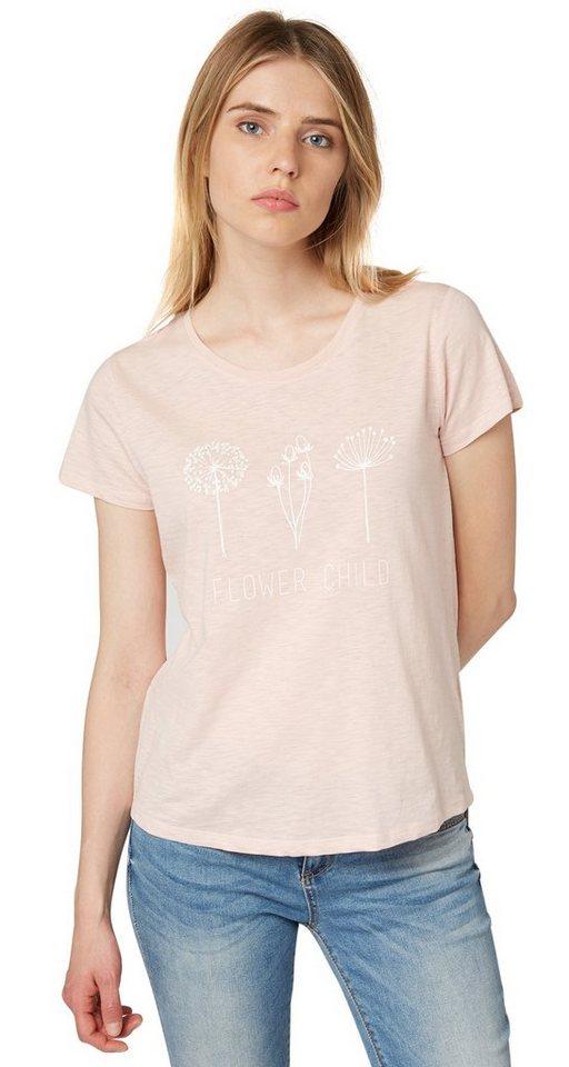 TOM TAILOR DENIM T-Shirt »Print-Shirt mit Pusteblumen-Motiv« in cherry blossom pink
