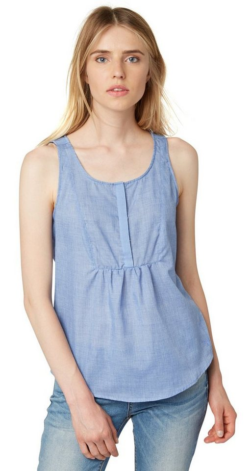 TOM TAILOR DENIM Bluse »loose chambray blouse top« in light powder blue