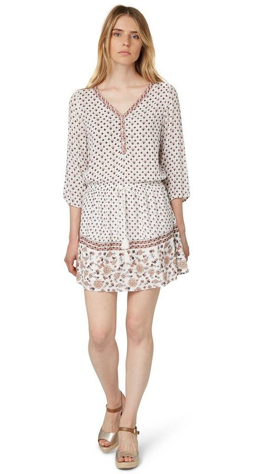 TOM TAILOR DENIM Kleid »Kleid mit floral-gemustertem Saum« in off white