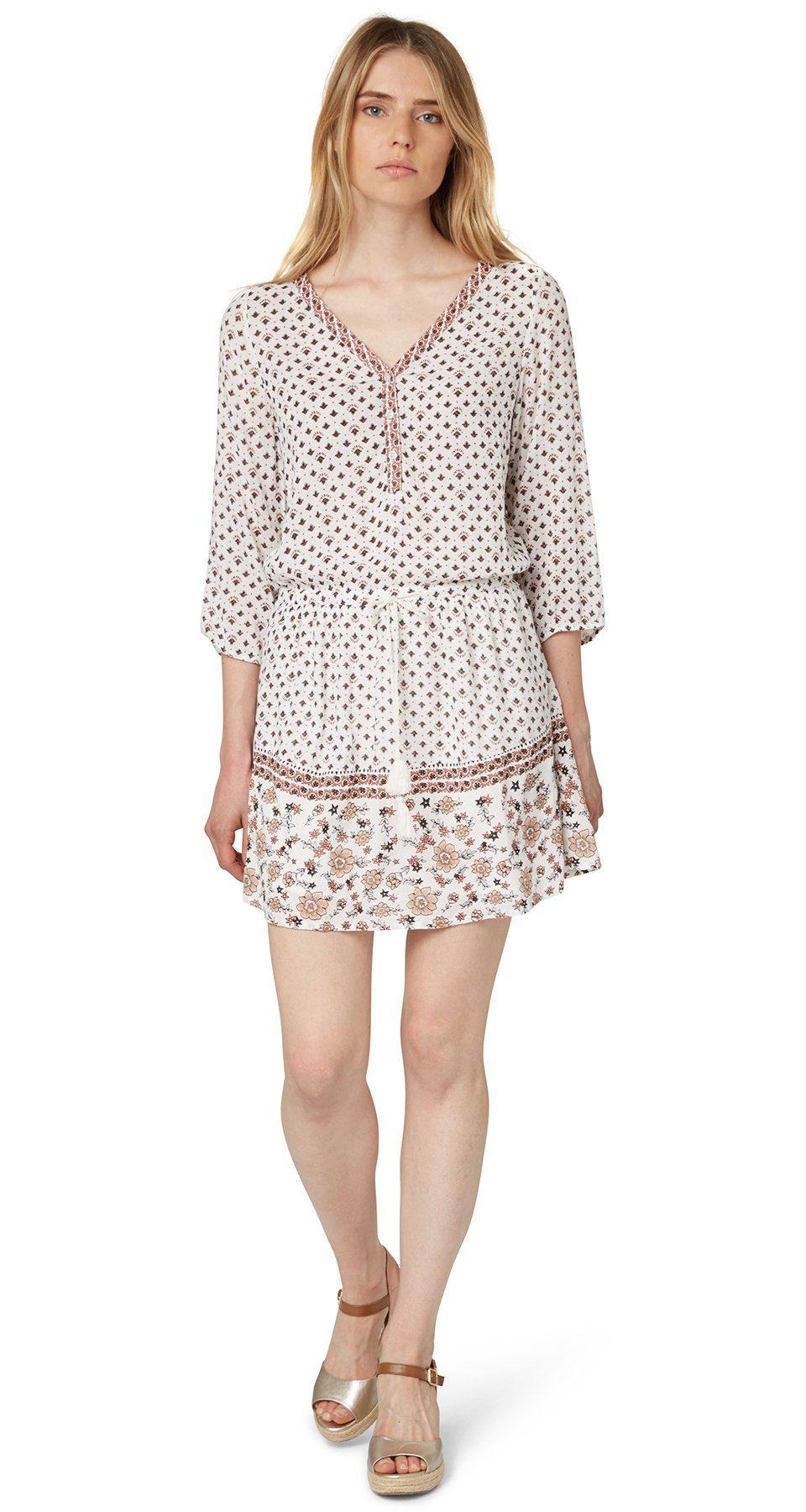TOM TAILOR DENIM Kleid »Kleid mit floral-gemustertem Saum«