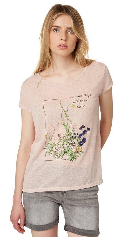 TOM TAILOR DENIM T-Shirt »T-Shirt mit Blumen-Print und Spruch« in cherry blossom pink