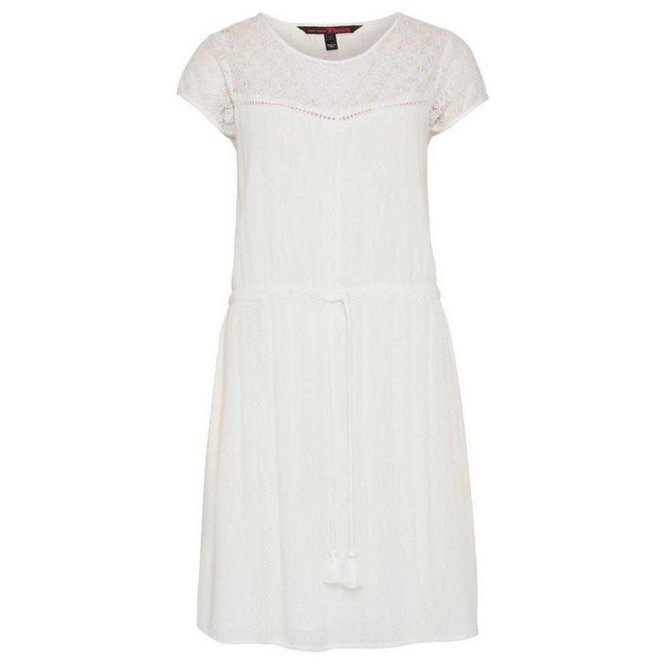 TOM TAILOR DENIM Kleid »sommerliches Kleid mit Spitze« in off white