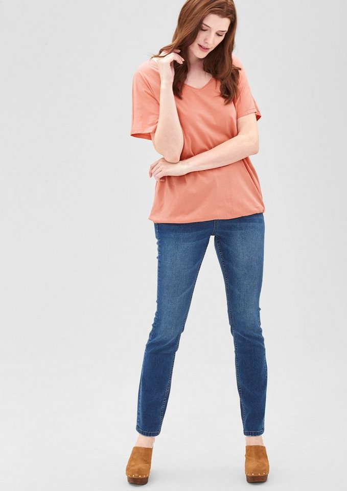 TRIANGLE V-Neck-Shirt mit Gummibund in bleached papaya