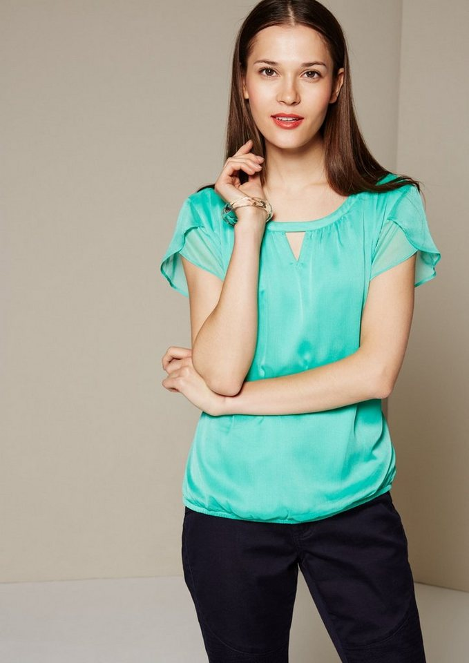 COMMA Edle Chiffonbluse mit feinen Details in green